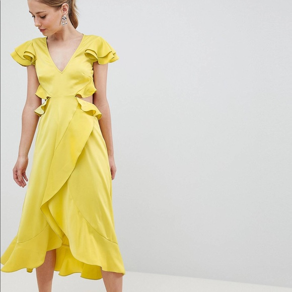 813ed4843b02b ASOS Dresses | Design Chartreuse Ruffle Midi Dress In Satin | Poshmark